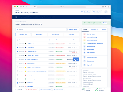 🔎 Web App for Auditors - List View finance finance dashboard dashboard interface ui  ux interface dashboard ui dashboard design dashboard app dashboard desktop app list table audit tool web interface browser web app product design interaction design interaction