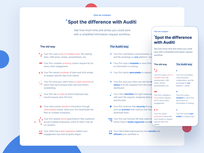 🏠 Auditi Homepage - Comparison table website webdesign smart design dot comparison comparison table saas saas website saas landing page text design typography text style difference visual support dots dot icon