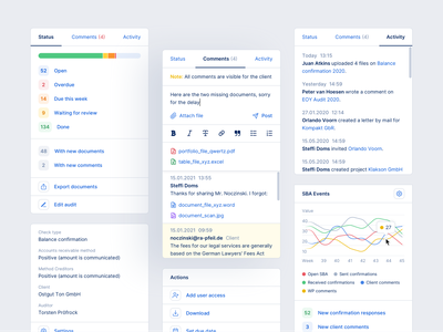 Auditi - Sidebar Components desktop app finance graphs information design web app overview status activity commentary comment clean design design product software product design software design ux uiux ui sidebar