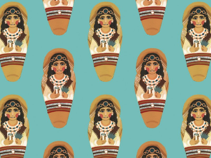 Met Mummies egyptian mummy egypt ptolemaic egypt ancient egypt metropolitan museum of art met museum art history archaeology gouache mummies mummy repeat pattern surface pattern surface design illustration