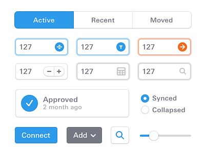 Light UI Elements tab checkbox input form clean univers next pro light white elements ui buttons button