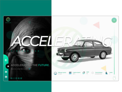 Vintage future car website concept.