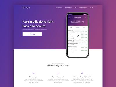 Roger.Ai Website Redesign billing finance app web webdesign redesign roger.ai