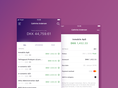 Roger.Ai App Redesign restyling application productdesign billing finance app web appdesign redesign roger.ai