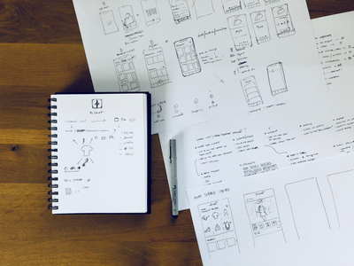 Closet app wireframe stepone process design app paper sketch sketching wirefram