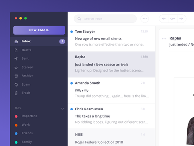 Email Client inbox rapha purplesohotrightnow purple client email