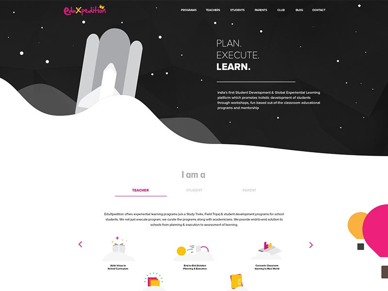 WIP View - EduXpedition - Homepage Design eduxpedition website landing page web design tanmay saxena