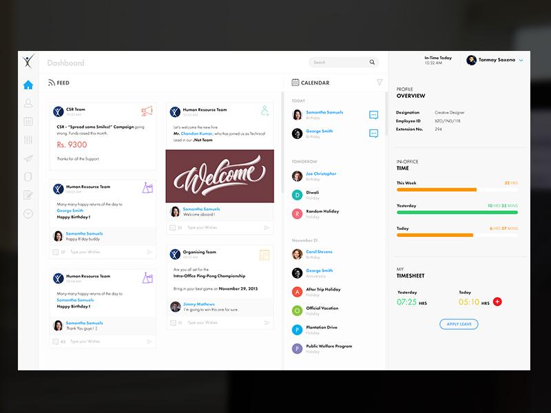 Dashboard [Concept] - Internal Company Dashboard tanmay saxena exzeo user interface user experience ux ui calendar feed dashboard