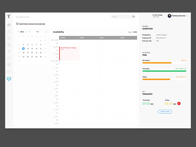 Meeting Room Booking exzeo tanmay saxena meeting room ux ui calendar booking dashboard