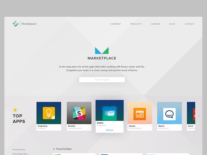 Marketplace - Exzeo app store exzeo wip ux ui marketplace