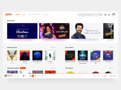 WhatIf - Gaana was Clean and Sexy simplified music player web music gaana ui ux