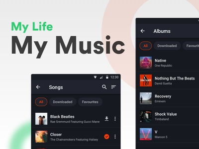 My Music Redesign - for Gaana filter gaana quick filter music android mobile ux ui