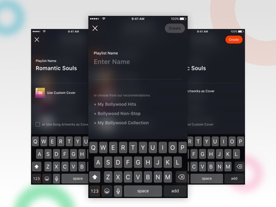 Create Playlist - Concept Design ios gaana music app overlay suggestions recommendations alert replacement playlist music mobile ui ux
