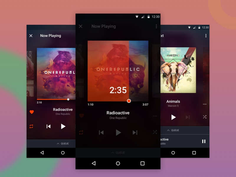 Music Player Design - Concept simplistic micro interaction gaana player music music app mobile ui ux