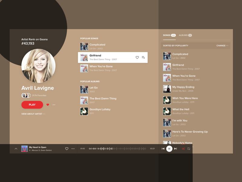 Gaana Artist Page [Concept] music artist ux ui