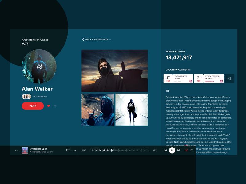 Gaana Artist View Details - [Concept] gaana artist music ux ui