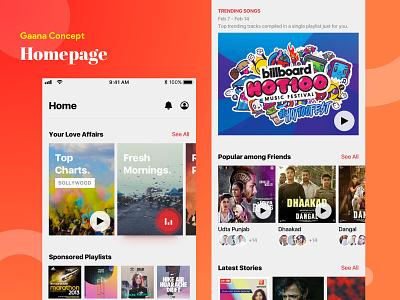 Gaana Homepage Concept app music player gaana mobile music ux ui