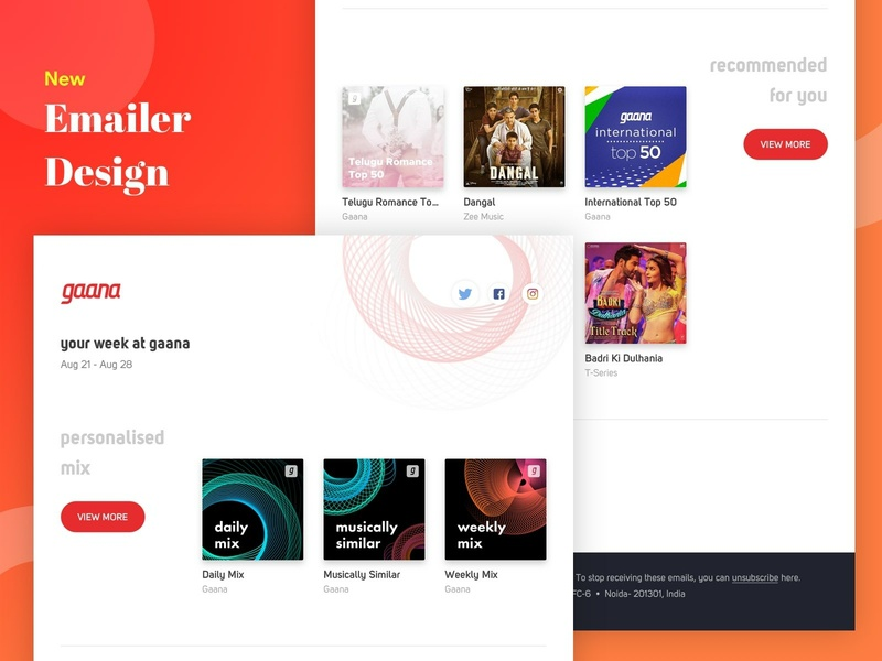 Gaana Emailer Design app design gaana music ui