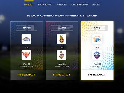 [Concept] IPL Prediction Game Design - with Minimum Graphics web  design ipl ux ui