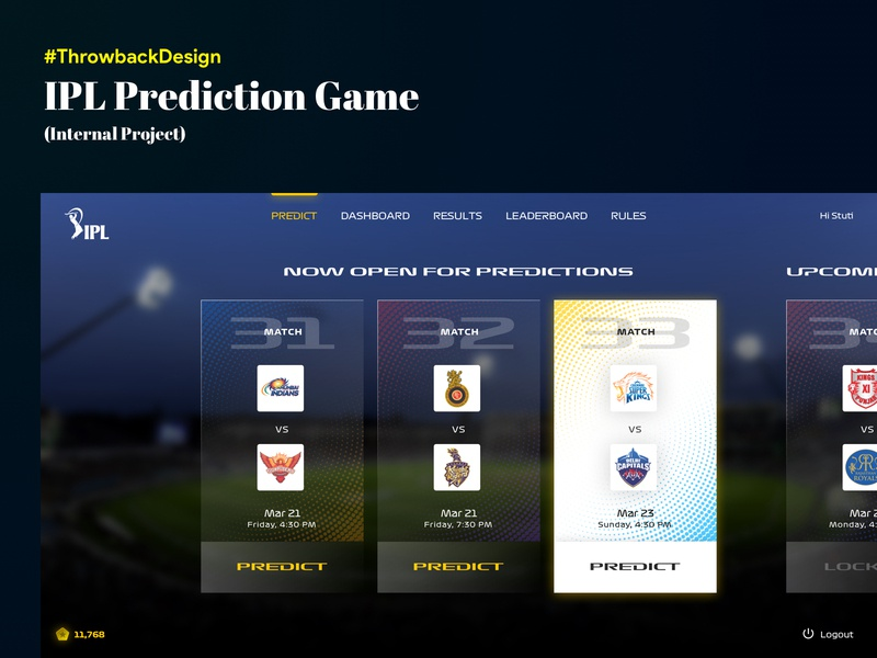 [Concept] IPL Prediction Game Design - with Minimum Graphics web  design ipl ux ui