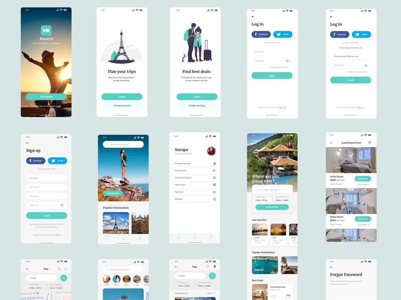Travel   Hotel booking app vector flat typography type app illustration website branding web illustrator ux design
