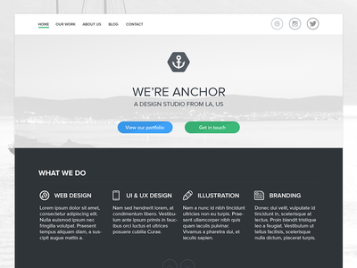 Anchor Home Page anchor home page web design flat ui wip