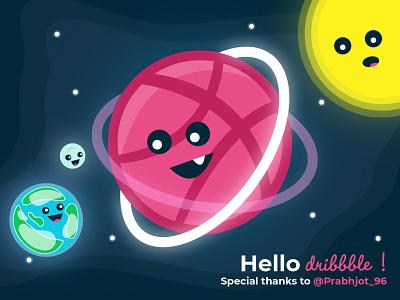 Hello Dribbble ! design thanks for invite basketball planet stars space illustration debut shot debut hello dribbble