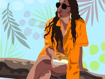 Angelica portrait illustration portrait painting illustrator shirt summertime summer color portrait
