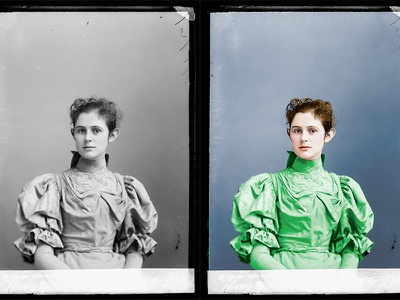 Colorized Female Portrait colorize colorizing restoration photography old black and white