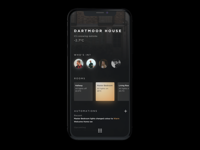 Home App dashboard design automation hass home assistant gradient design dark app dark hue philips hue smart lighting smart home home automation home app iphone ux ui mobile ios app