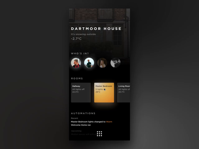Home app scenes gradiant scenes home automation ux ui mobile ios app invision studio smart lighting lighting smart home home app home