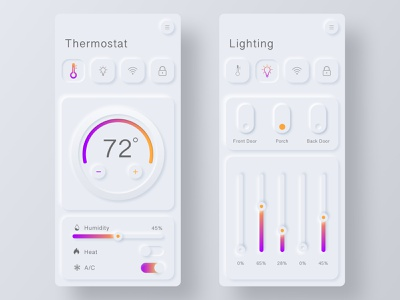 Neumorphism Smart Home App thermostat home monitoring design interaction design ux ui product design