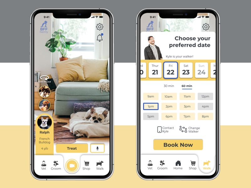 Best Friends Virtual Nanny App picker time date picker application app design app pet care pet sketch ux ui design