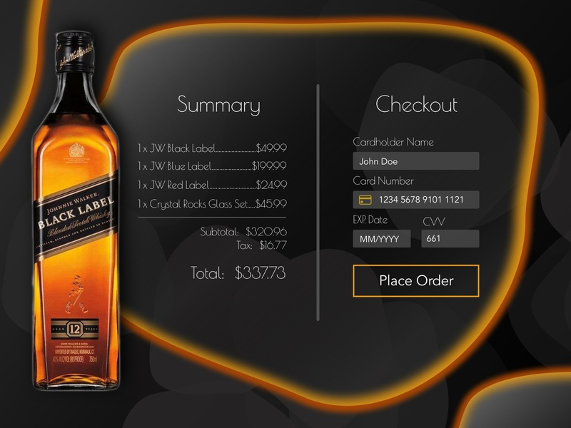 DailyUI Checkout gray black orange liquor branding whiskey website design web design checkout form checkout page checkout brand sketch photoshop illustration ui design