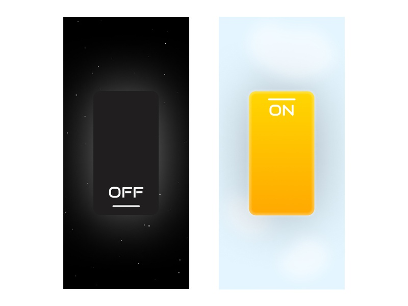Night & Day figma dailyuichallenge dailyui illustration design sunny sky light ui light day dark theme dark mode dark night mode night switcher switches switch on off switch on off