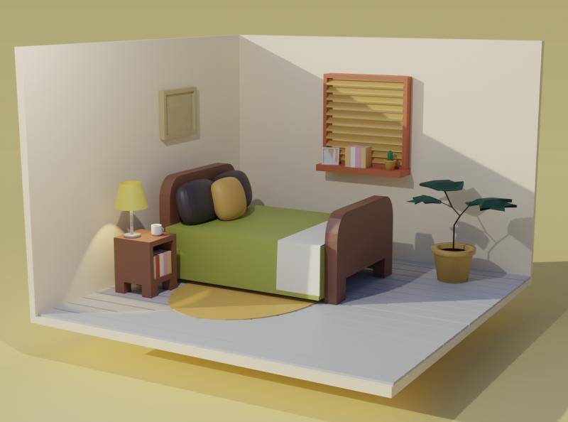 Lowpoly bedroom render low poly blender3d illustration bedroom blender b3d