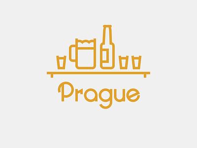 Prague prague line illustration typography vector inkscape graphics city landscape beer vodka potato vodka schnaps ugly