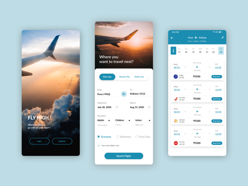 Flight Trip app ux theme colorful ui mockup figma