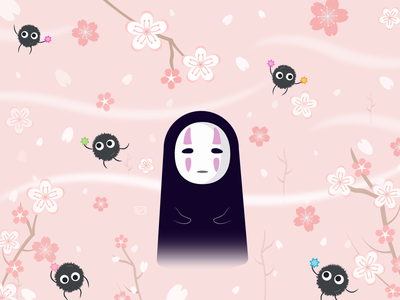 Spirited Away sketch springdesign springday spring kikisdeliveryservice ponyo noface disney drawing anime studio totoro vector logodesign illustration flat design fanart miyazaki ghibli anime