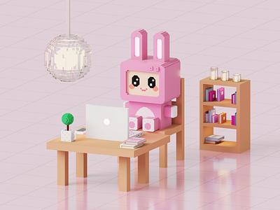 Voxel Rabbit pixelart voxel artist 3d design voxel character 3d gameart voxel game voxel art magicavoxel voxelart voxel