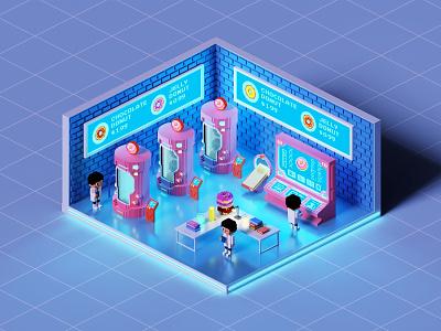 Voxel art Donut factory gameart voxels voxel art pixelart 3d isometric magicavoxel voxelart voxel