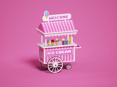 Voxel Ice cream cart pixelart gameart voxels ice cream cart isometric magicavoxel voxel art voxelart voxel