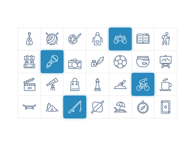 Hobbies and Free Time Iconography branding activity leisure hobby app ui design system icon pictogram icon set icons icon