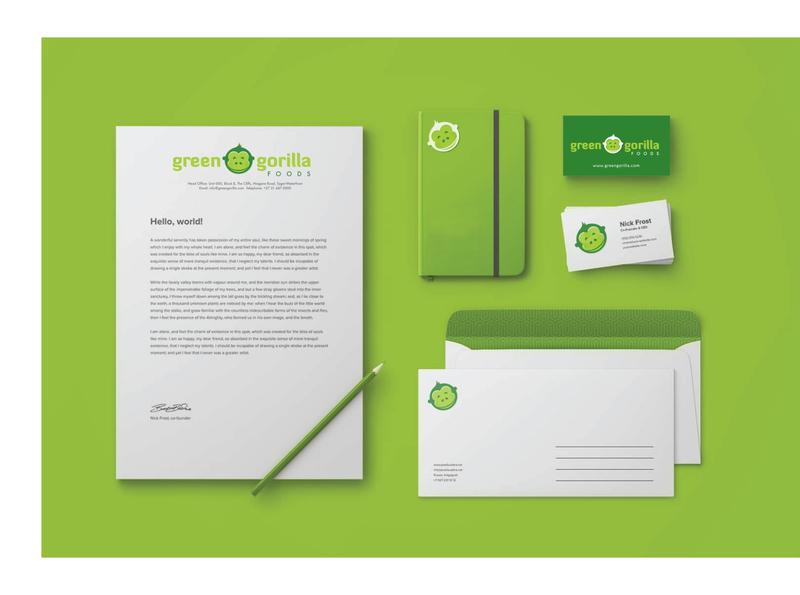 Green Gorilla Foods Stationery Design logo design stationery design logo identity design branding