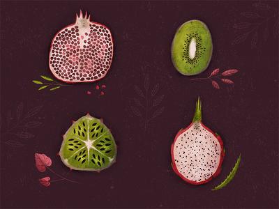 Fruit fruit kiwi garnet dragonfruit melon