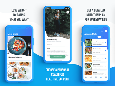 AppStore Screenshots (aka ASO pics) / FoodFuels app ui app weight loss product page optimization product page product page design search engine optimization optimization app screens appscreen screens app store appstore product branding appstore