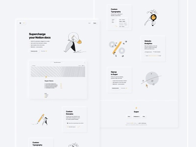 Super Landing Page ui soft ui neumorphic minimal notion super.so super