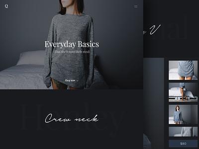 Q ecommerce apparel interface cozy