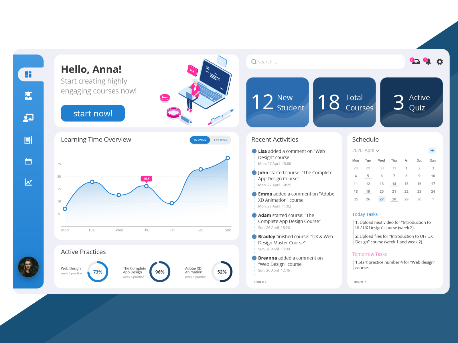 Learning Management System Dashboard By Fateme On Dribbble