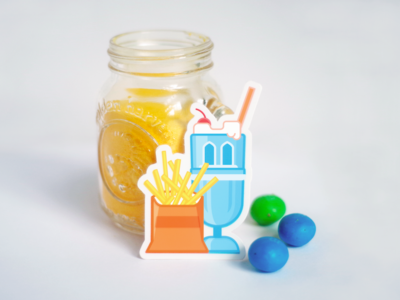 Fries & Century Tower Shake Sticker Design